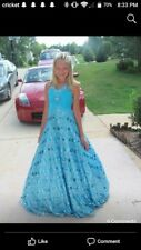 Girl's Turquoise Blue Sugar Sequin Pageant Gown Dress size 12 (fits as 12 slim)