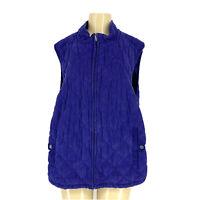 Croft & Barrow Plus Size 3X Blue Quilted Women Jacket Vest ZIP Up J5