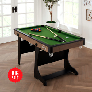 """Airzone 60"""" Folding Pool Table with Accessories, Green Cloth"""