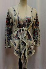 Sundance Embroidered Scarf Hemline Jacket Knit Coat Wrap M