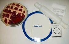 Tupperware BLUE Round NEW Silicone Wonder Mat Pastry Sheet ~WHITE Rolling Pin