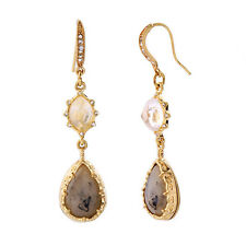 Long Water Drop Earrings Bold Bijoux Synthetic Stone Faceted Oval Dangling Gold