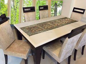 Indisch Tischläufer Grün Gold 5 Fuß Brokat Elefant Rechteckig Tischdekoration