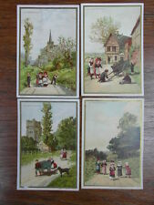 (PC) 4 x CHROMO TRADE CARDS AU BON MARCHE MINOT Serie 4 ENFANTS A LA CAMPAGNE