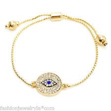 Fashion Gold Crystal Evil Eye Protection Adjustable Bracelet
