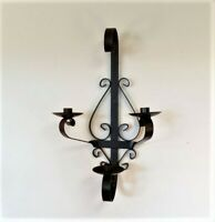 Vintage Wrought IRON Metal WALL SCONCE Candle (3) Three Holder Gothic Wall Decor