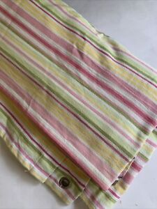 Pottery Barn Kids Striped Shower Curtain Pink Yellow Green 72 X 72in