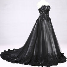 2018 Black White Victorian Gothic Lace Wedding Dress Bridal Gown Custom Size