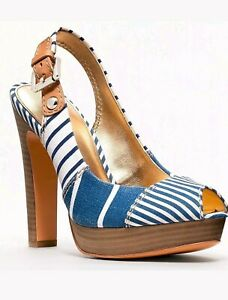 Coach BERLI Platform Peep Toe Pump Sandal Slingback Heel Shoe Navy Blue 7 NIB