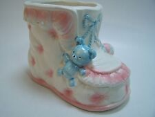 Vintage Baby Boot Planter Bear Rattle Pink Blue Inarco Japan  4939