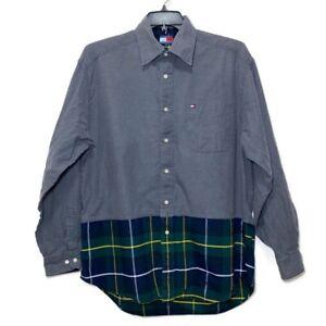 Tommy Hilfiger Mens Striped Long Sleeve Dress Shirt Gray Size Large Vintage