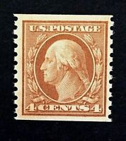 US Stamps, Scott #495 4c Vertical coil 1917, M/NH VF/XF. Bright and fresh.
