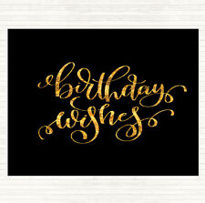 Black Gold Birthday Wishes Quote Mouse Mat Pad