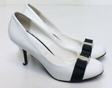 Salvatore Ferragamo Women's 8 C White Patent Leather Navy Bow Heels Pumps Shoes