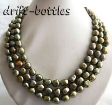 3strands 18'' 10mm Green Baroque Freshwater Pearl Necklace