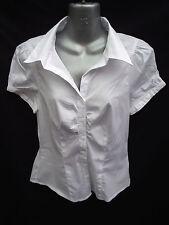 BNWT Ladies Sz 16 Smart White Short Sleeve Self Stripe Stretch Gathered Shirt