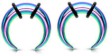 Pair Rainbow Steel Ear Plugs Buffalo Tapers Pincher Horseshoes Gauges 0g - 14g