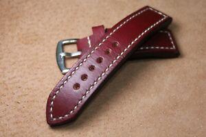 Handmade Leather Watch Strap  Dark Burgundy  Leather watch band 16 - 24 mm