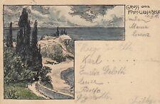 (92) DR Ganzsache Germania, Bild handgezeichnet, Familienfeier Karlsruhe 1901