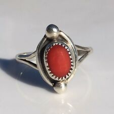 Sterling Silver Red Natural Coral Boho Ring Size 5.5 925 Signed EJ Pinky Midi