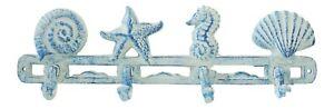 Distressed Coastal Blue Shell Seahorse Starfish Nautical Single Hooks Wall Decor
