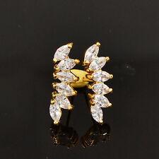 Women Fashion White Cubic Zirconia Fairy Angel Wings CZ Stud Earrings Jewelry