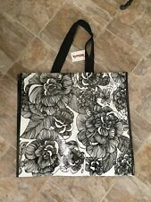 NEW TJ Maxx Large Shopping Tote Bag ~ Black & White Floral~ Reusable EcoFriendly