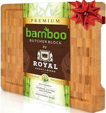Wood Cutting Chopping Board - Heavy Duty Kitchen Butcher Block w/ Juice Grooves
