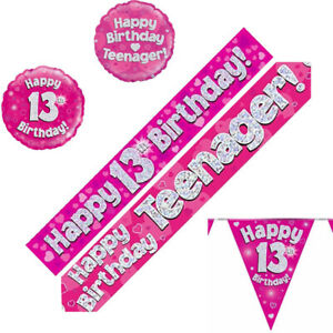 13th Birthday Party Decorations Buntings Pink Banners Balloons Age 13 Teenager