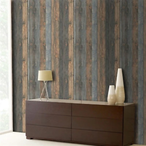 Reclaimed Textured Wood Effect Wallpaper | Charcoal & Blue