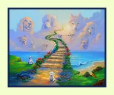 Rainbow Bridge Labrador retriever 11x14 Matd 8x10 Print Dog Sympathy Memorial