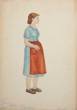 Vintage WC Painting Costume design woman signed