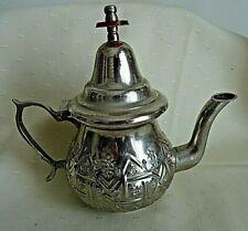 VINTAGE SILVER METAL EMBOSSED ISLAMIC ARABIC MOROCCAN TEA COFFEE POT