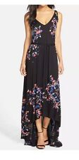 NWT $198 French Connection Electric Rays Print Black Maxi Dress Gown Sz 12 RARE!