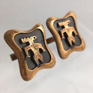 Man Alien Wendigo Cufflinks Copper Southwestern Style Kim Large Vintage G1