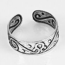 Plain Solid .925 Sterling Silver Filigree Adjustable Toe Ring (str26)