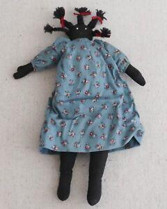 Vintage Primitive African American Folk Art Black Rag Doll Blue Calico Dress
