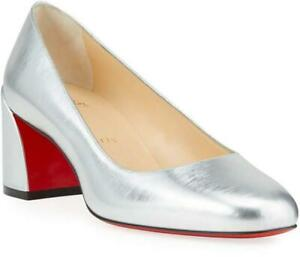 Christian Louboutin MISS SAB 55 Metallic Leather Heels Pumps Shoes Silver $745