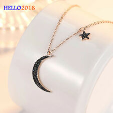 Black Crystal Star Moon Myth Fashion Pendant Necklace For Women Party Jewelry