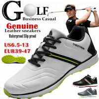 FLYLAND Men's Golf Shoes Genuine Leather Waterproof Business Casual Golf Sneaker