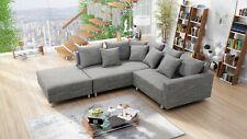 Modernes Sofa Couch Ecksofa Eckcouch in Gewebestoff hellgrau mit Hocker Minsk L