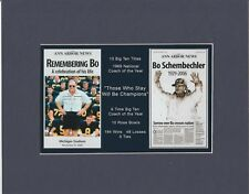 MICHIGAN WOLVERINES COACH BO SCHEMBECHLER MATTED DUAL TRIBUTE PIC OF NEWSPAPERS