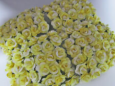 144 Mulberry Paper Rose Flower/Scrapbooking/decoration/bouquet H420-Yellow/White