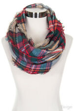 Jinscloset Women's Check and Plaid Soft Infinity Loop Winter Fall Warm Scarf
