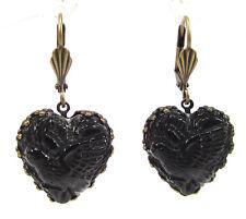 SoHo® Ohrhänger Ohrringe bohemia Glas bronze Herz schwarz 1960s handmade Taube