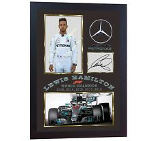 NEW 2018 F1 World Champion Lewis Hamilton signed autographed photo print FRAMED.