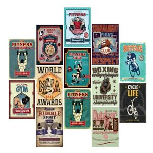 Vintage Metal Tin Signs Fitness Club Boxing Hanging Art Wall Decor Poster