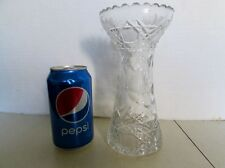 American Brilliant Cut Crystal Corset Vase Daisy & Crosshatch Lattice ABP