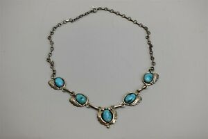 Marie B Navajo Turquoise Sterling Silver NecklaceNative American Bohemian