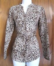 New Womens Long Sleeve Leopard Print Blouse by NY Collection  Size S FREE SHIP